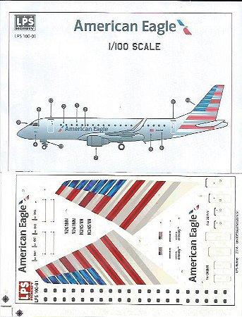 Decal E-170 American Eagle - escala 1/100 - LPS Hobby