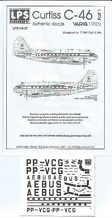 Decal Curtiss C-46 Varig - pintura da década de 1950, escala 1/144 - LPS Hobby