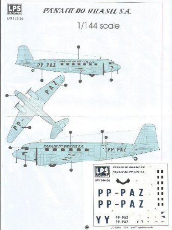 Decal DC-2 Panair do Brasil - escala 1/144 - LPS Hobby