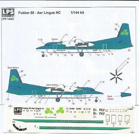 Decal Aer Lingus Fokker 50 - escala 1/144 - LPS Hobby