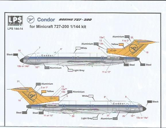 Decal Boeing 727-200 Condor - escala 1/144 - LPS Hobby