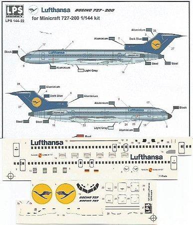 Decal Boeing 727-200 Lufthansa - escala 1/144 - LPS Hobby