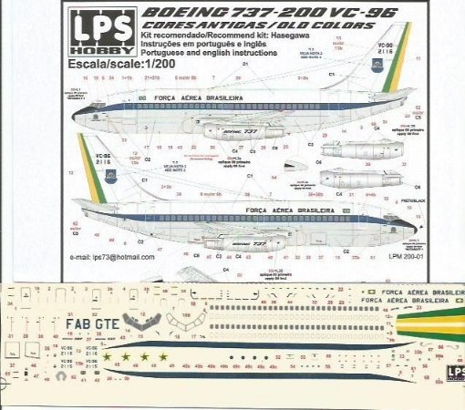 Decal 737-200 VC-96 FAB - escala 1/200 - LPS Hobby