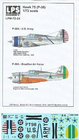 Decal Hawk 75 (P-36) U.S. Army & Brazilian Air Force - escala 1/72 - LPS Hobby