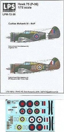 Decal Hawk 75 (P-36) - Curtiss Mohawk IV - RAF - escala 1/72 - LPS Hobby