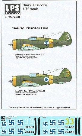 Decal Hawk 75 (P-36) - Hawk 75A - Finland Air Force - escala 1/72 - LPS Hobby