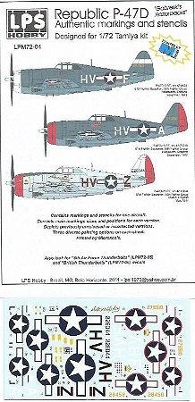 "Decal P-47D ""Gabreski's Razorbacks"" - escala 1/72 - LPS Hobby"