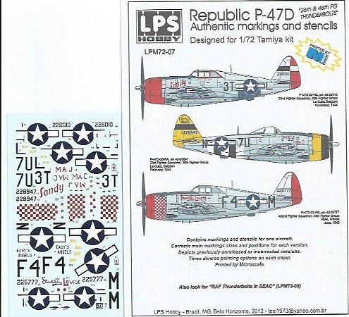 "Decal  P-47D  ""36th & 48th FG Thunderbolts"" - escala 1/72 - LPS Hobby"
