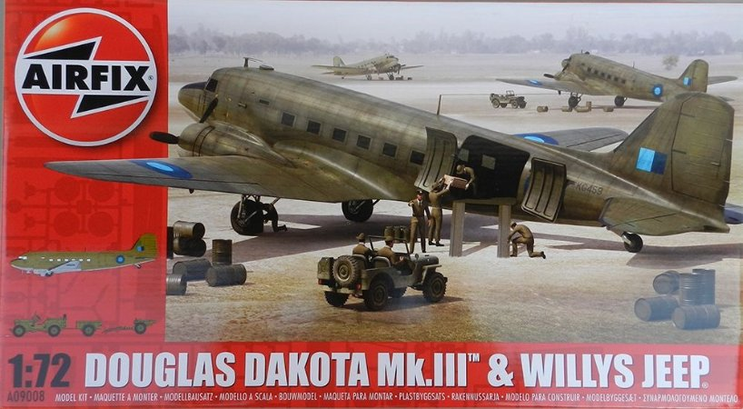 Douglas Dakota Mk-III & Willys Jeep - escala 1/72 - Airfix - MOLDE NOVO E REMODELADO!!!