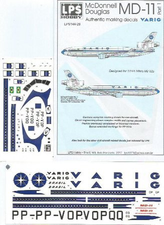 Decal McDonnell Douglas MD-11 Varig - escala 1/144 - LPS Hobby
