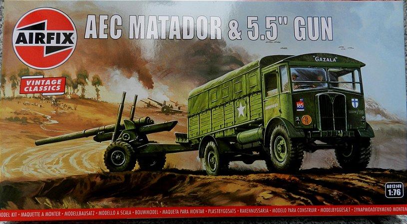 """AEC Matador & 5.5"""" Gun - escala 1/76 - Airfix"""