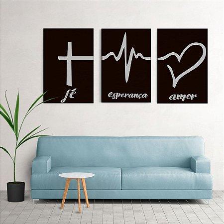 Conjunto de Quadros Decorativos - Fé, Esperança e Amor
