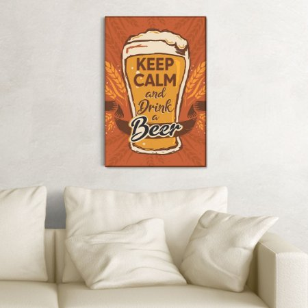 Quadro Decorativo - keep calm and drink a beer