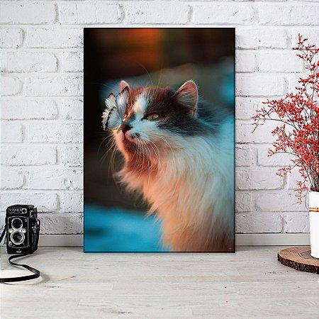 Quadro Decorativo - Gato com borboleta