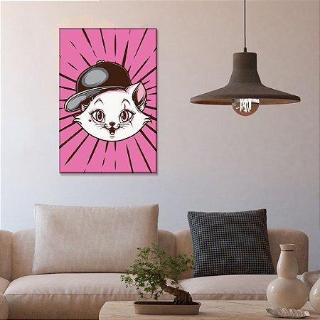 Quadro Decorativo - Gatinha com boné