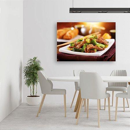 Quadro Decorativo - Comida Oriental Carne com Brócolis