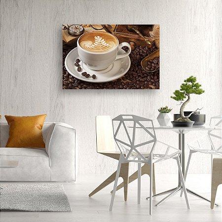 Quadro Decorativo - Café, Grãos e Bússula