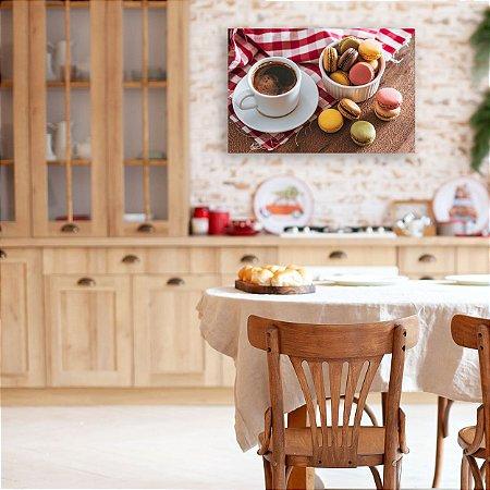 Quadro Decorativo - Café e Macarons