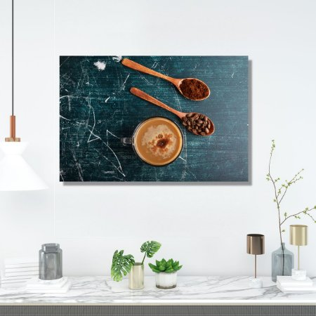 Quadro Decorativo - Café Moído e Grãos