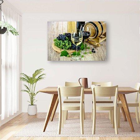 Quadro Decorativo - Taças de Vinho Branco e Tinto