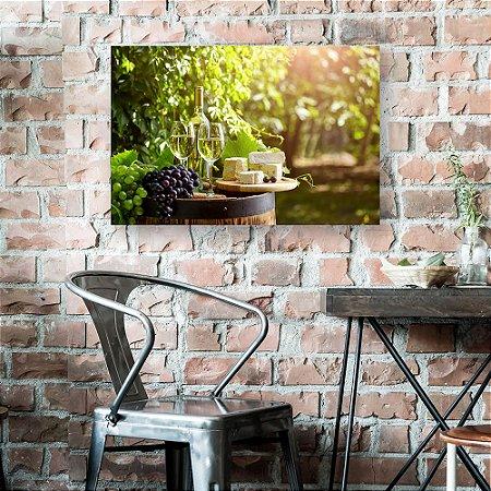Quadro Decorativo - Vinho Branco e Queijos
