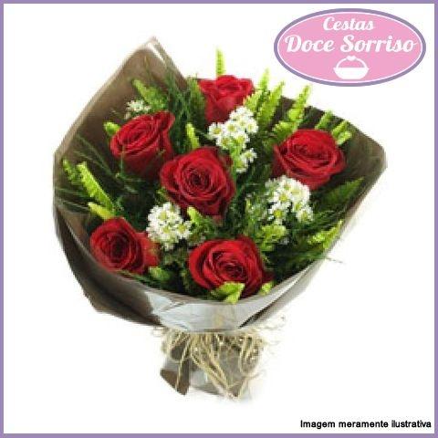 Item adicional - Buquê de 6 Rosas Vermelhas Tradicionais