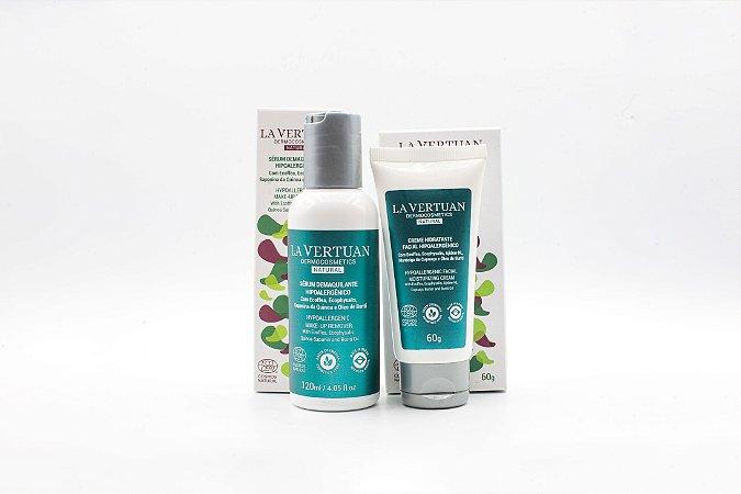 Kit Pele Macia e Sedosa - Sérum Demaquilante Hipoalergênico + Creme Hidratante Facial Hipoalergênico