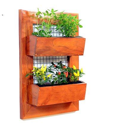 Horta Na Vertical de Peroba 80x55cm + 2 Vasos de plantio direto   *PRODUTO PREMIUM*