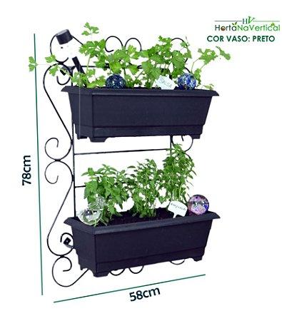 Horta Vertical de Ferro SUPER! - 2 Vasos Gigantes (50cm)