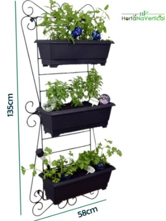 Horta Vertical de Ferro SUPER! - 3 Vasos GIGANTES (50cm)
