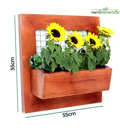 Jardim Vertical com Tela Premium 01 Vaso - 55X55cm