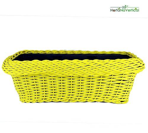 Vaso Jardineira Amarelo - Vasos trançados para Jardim Vertical (50cm)