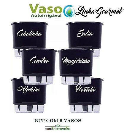 KIT - 6 Vasos Auto-Irrigáveis Grandes - Linha Gourmet PRETO - Escolha os vasos!