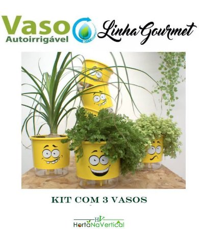 KIT 3 vasos - Vaso Auto-Irrigável - pequeno (10,9cm x 9,5cm) - CABELOUCO