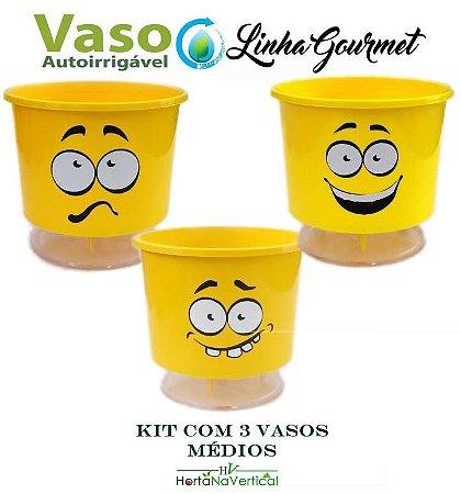 KIT 3 vasos - Vaso Auto-Irrigável - médio (11,4 cm x 12,6cm) - CABELOUCO