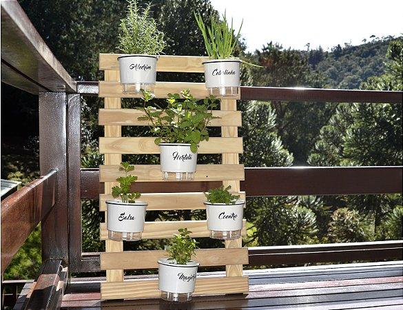 Horta  Vertical Auto-Irrigável - treliça (100x60) + 6 Vasos Raiz Gourmet Branco + 6 suportes de ferro