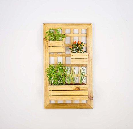 Painel Horta Vertical - 2 cachepôs pequenos - 1 cachepô grande (100cm x 55cm)