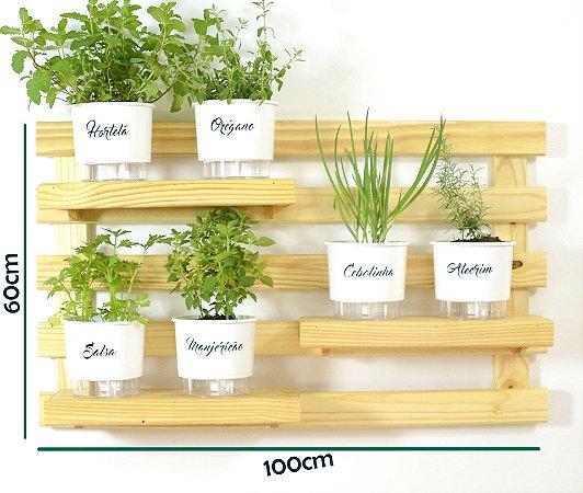 Horta  Vertical Auto-Irrigável - treliça de 3 prateleiras (60x100) com 6 Vasos Linha Gourmet Branco