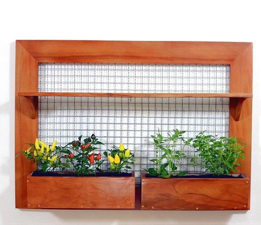 Horta e Jardim Vertical de GIGANTE - 1 Prateleira Grande e 2 Vasos de Plantio Direto