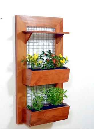 Horta e Jardim Vertical - 1 Prateleira e 2 Vasos de Plantio direto