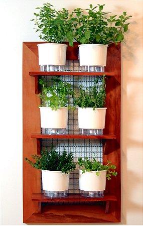 Horta Na Vertical 100x55cm + 3 Prateleiras + 6 Vasos AutoIrrigáveis Raiz Brancos