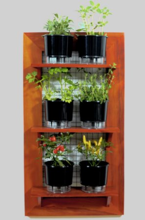 Horta Na Vertical 100x55cm + 3 Prateleiras + 6 Vasos AutoIrrigáveis Raiz Pretos