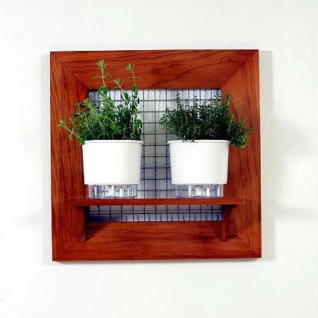 Horta na Vertical de Madeira envernizada com 02 Vasos Autoirrigáveis Lisos - Branco