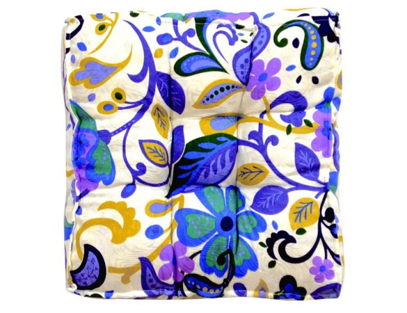 Futon - Almofada para Sacada/Jardim Estampado Azul com Lilás