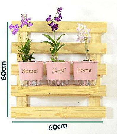 Horta Vertical Auto-Irrigável - treliça incolor (60x60) + 3 Vasos Linha Wishes Rosa Quartz - Home Sweet Home