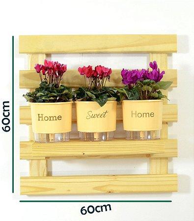 Horta Vertical Auto-Irrigável - treliça incolor (60x60) + 3 Vasos Linha Wishes Amarelo - Home Sweet Home