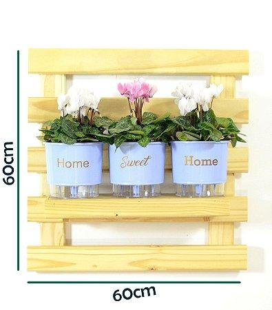 Horta Vertical Auto-Irrigável - treliça incolor (60x60) + 3 Vasos Linha Wishes Azul - Home Sweet Home