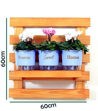 Horta Vertical Auto-Irrigável - treliça cor mogno (60x60) + 3 Vasos Linha Wishes Azul - Home Sweet Home