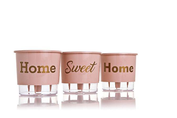 Conjunto 3 Vasos Autoirrigáveis Grandes - Home Sweet Home - Rosê