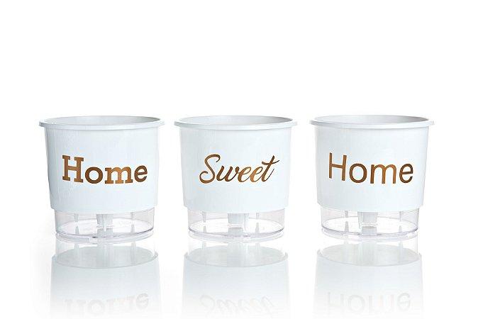 Conjunto 3 Vasos Autoirrigáveis Grandes - Home Sweet Home - Branco